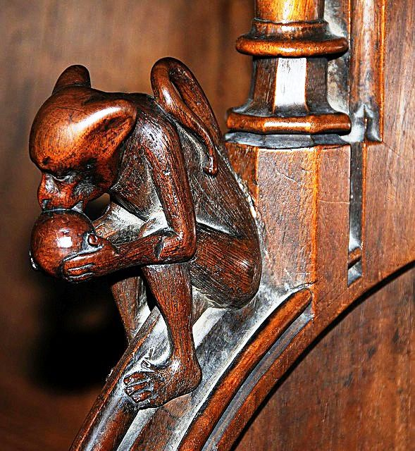 The choir stalls of the Collegiate Church of St. Ursus, Aosta, Italy. Misericords and sculptures_17
