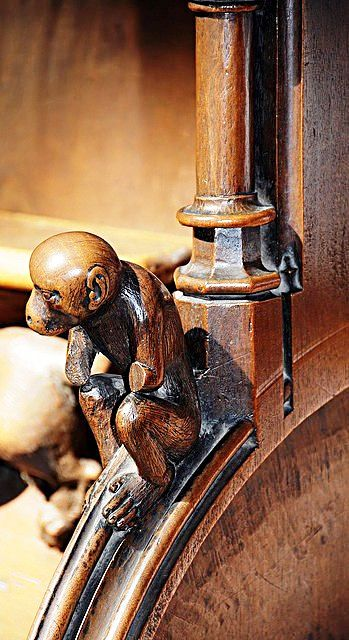 The choir stalls of the Collegiate Church of St. Ursus, Aosta, Italy. Misericords and sculptures_18