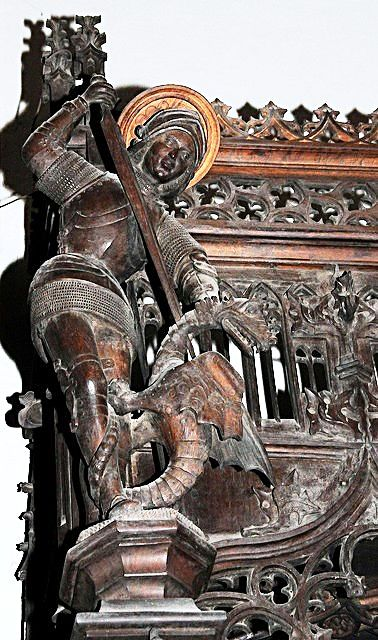 The choir stalls of the Collegiate Church of St. Ursus, Aosta, Italy. Misericords and sculptures_13