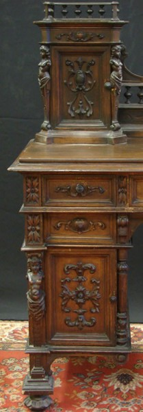 HAND CARVED WRITING DESK WITH GALLERY_1
