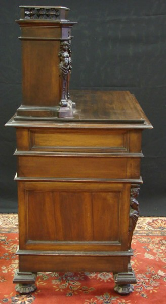 HAND CARVED WRITING DESK WITH GALLERY_4