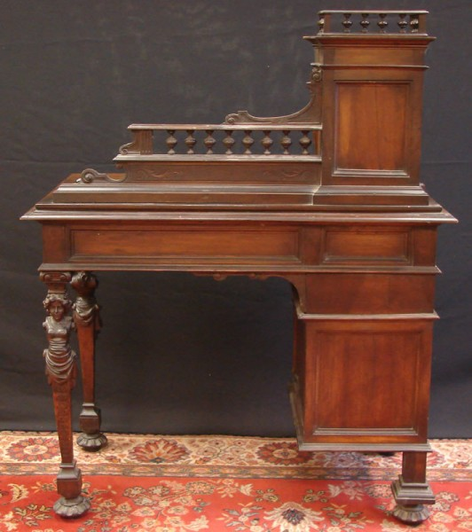 HAND CARVED WRITING DESK WITH GALLERY_7