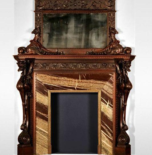 Luigi FRULLINI, Exceptional wood fireplace mantel In sculpted walnut