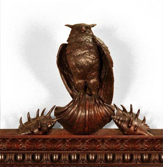 Luigi FRULLINI, Exceptional wood fireplace mantel In sculpted walnut_1