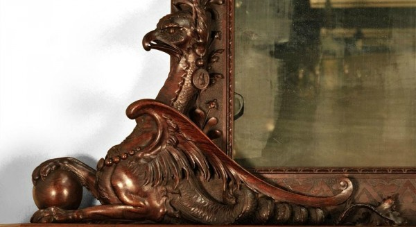 Luigi FRULLINI, Exceptional wood fireplace mantel In sculpted walnut_2