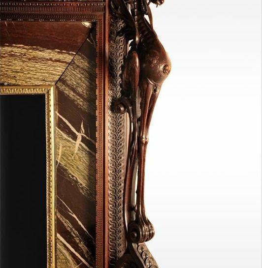 Luigi FRULLINI, Exceptional wood fireplace mantel In sculpted walnut_4
