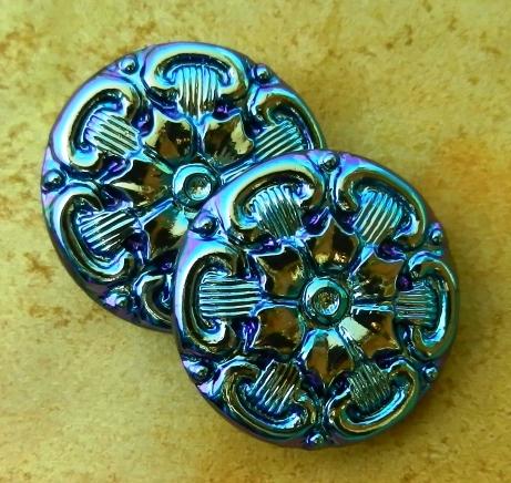 19_Green - Gold - Blue Tudor Rose Mandala -- Czech Glass Button larger image