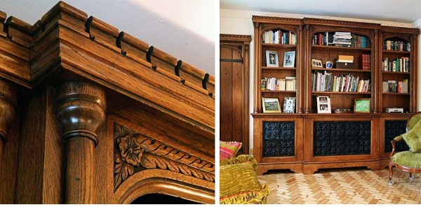 Bookcase with machicolated frieze and carved Tudor rose detail