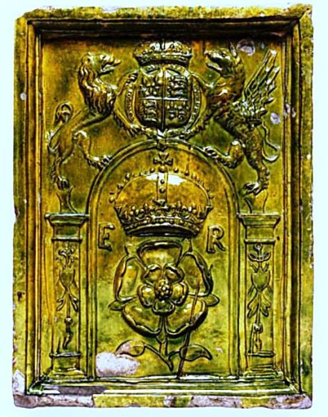 Stove tile with Tudor rose, England