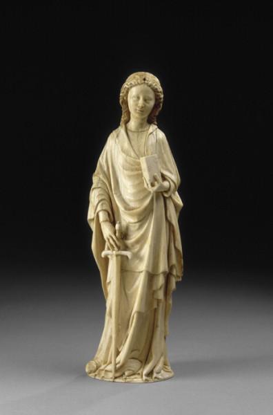 (St Catherine _ female saint (St Catherine of Alexandria _ sword_ book_ ivory_Paris, Musée du Louvre, Paris, c. 1380–90