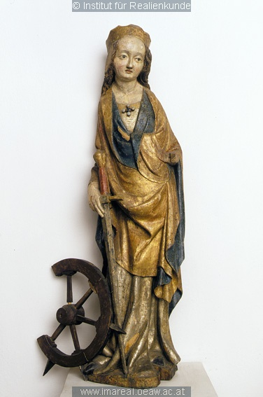 16th century (1500-1520) Bohemia wood carving, St Catherine of Alexandria