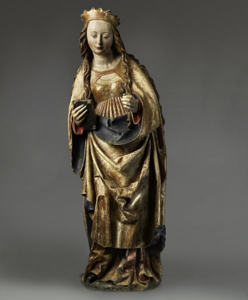St. Catherine of Alexandria, limewood sculpture, ca. 1490s, from Germany.