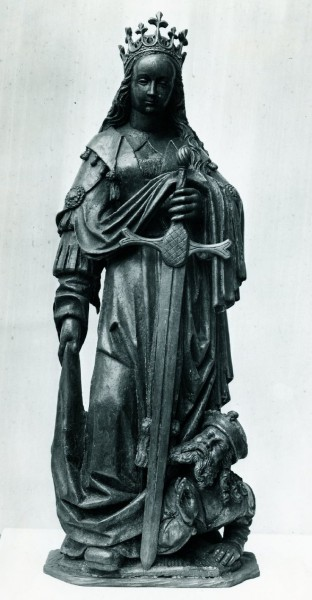 Statuette of St Catherine; wood; once painted_German, late medieval