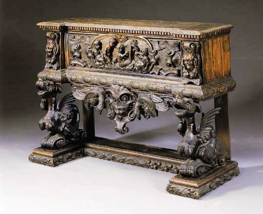 AN ITALIAN RENAISSANCE STYLE STAINED WALNUT CASSONE-ON-STAND _$4.700