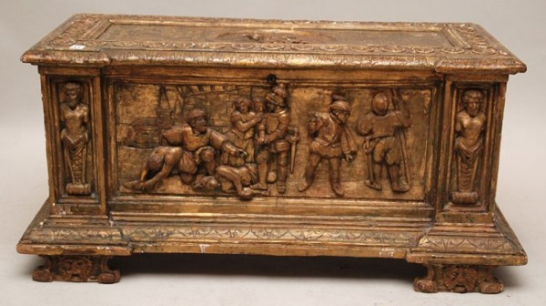 Carved Continental Cassone chest, 18th c, newer hin _1