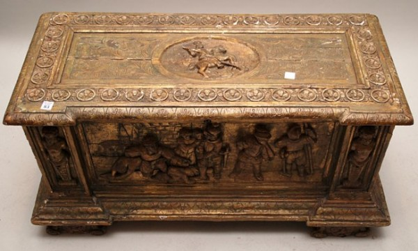 Carved Continental Cassone chest, 18th c, newer hin _2