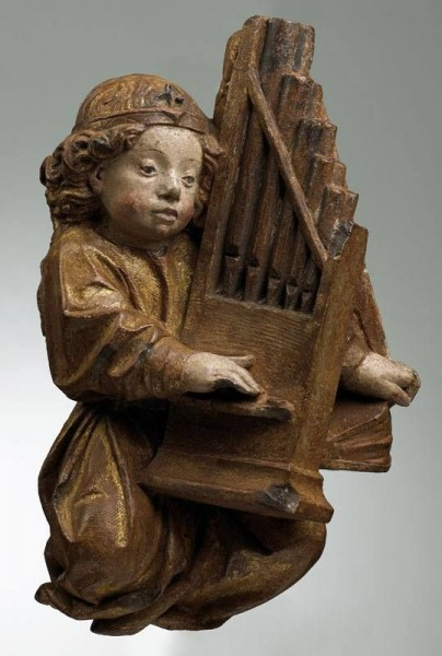 Anonyme, Ange jouant de l'orgue, 1401-1500. Anjo tocando harpa.