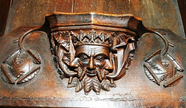 misericord carving in Cartmel Priory.