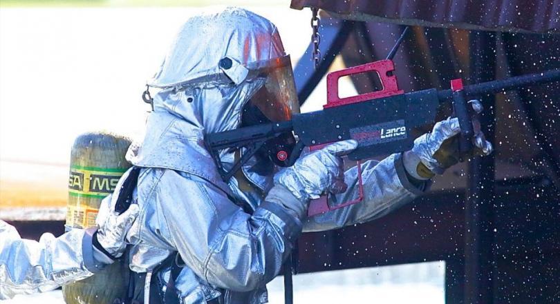 Водяной пистолет для пожарных,  прорезающий бетон
