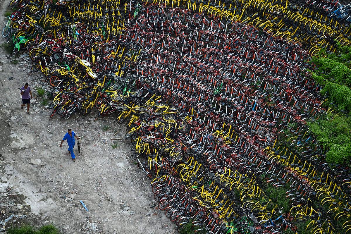 """Велосипедное """"наводнение"""" в Китае Китай"""