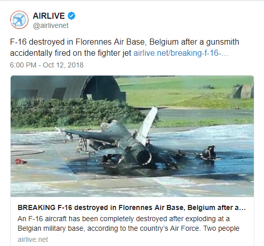 В Бельгии расстреляли F-16, патрулировавший границу с РФ