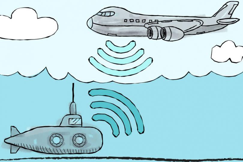 Как позвонить с самолета на подлодку?