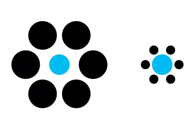 Какой из синих кружков больше?