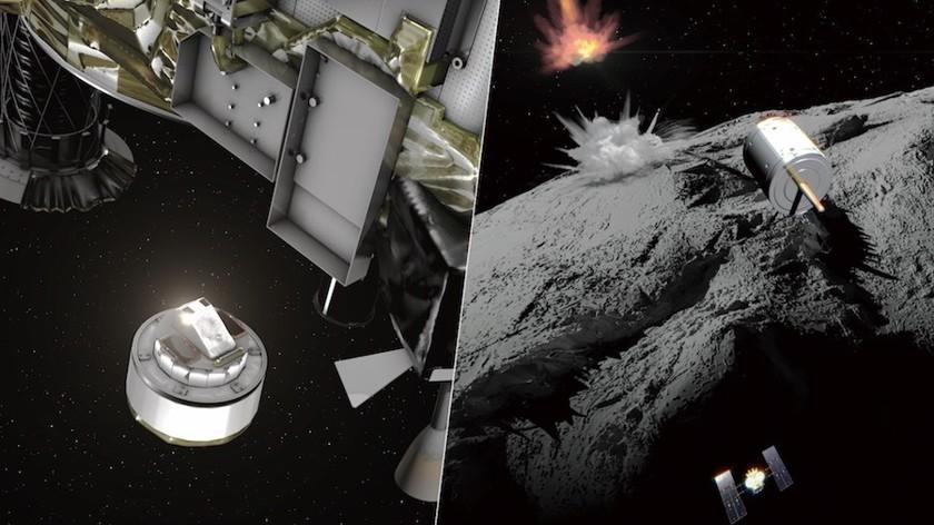 Космическая станция сбросила бомбу на астероид