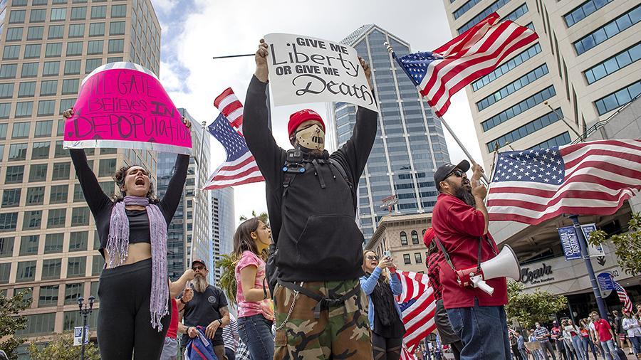 Как американцы протестуют против карантина от Covid-19 Коронавирус,США