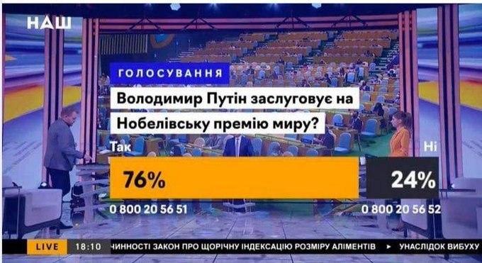 Украинцы поддержали выдвижение Путина на Нобелевскую премию мира Путин,Украина