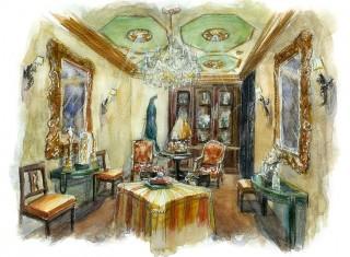 Проект частной квартиры. Гостинная. (Акварель). 2004