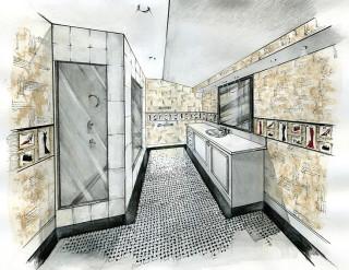 Проект загородного дома. Ванная комната. (Акварель). 2005