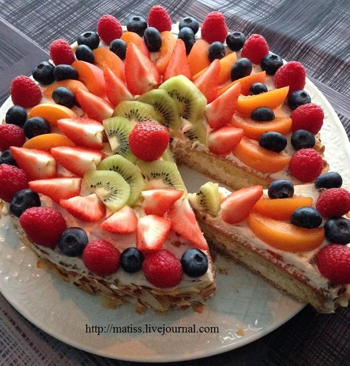 Рецепт открытого торта с ягодами с фото