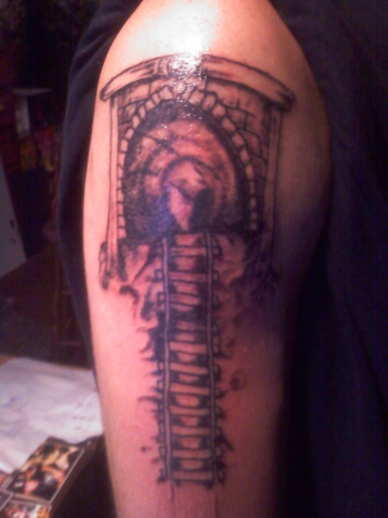 train_tunnel_tattoo_dark_stone_by_screamyourwishchad