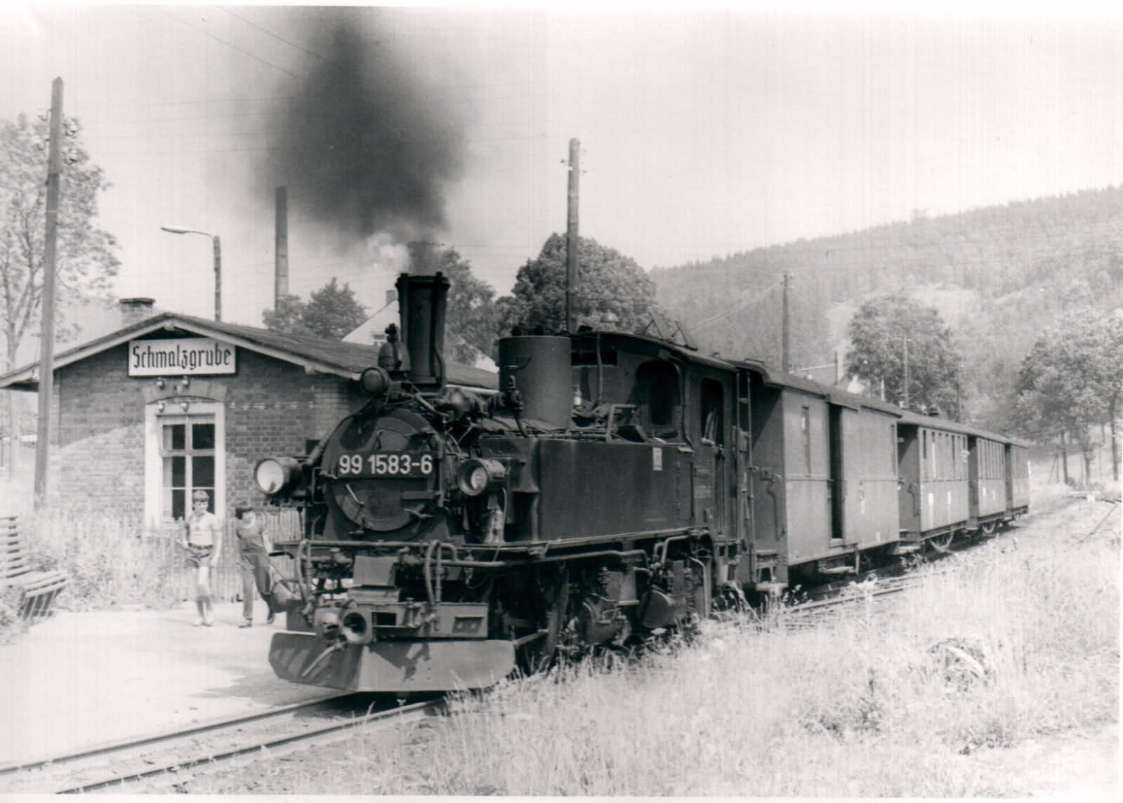 99 1583 abfahrbereit in Jöhstadt 9.7.1975