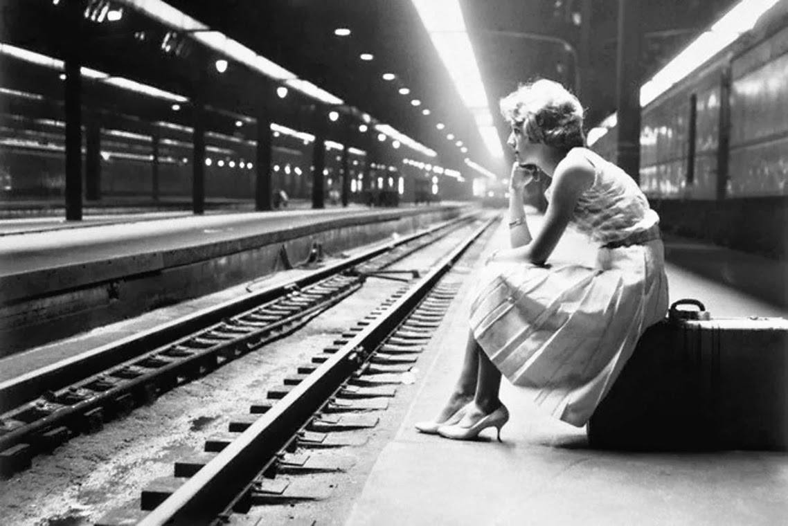 Teenage Girl Waiting for Train ; Chicago Illinois 1960