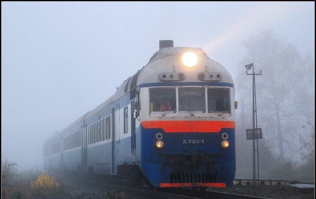 Дизель-поезд Д1-750 отправляется с о.п. Пчеловодное, Россия Мо