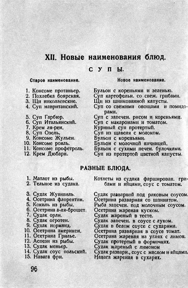 Новые наименования блюд. 1928 год