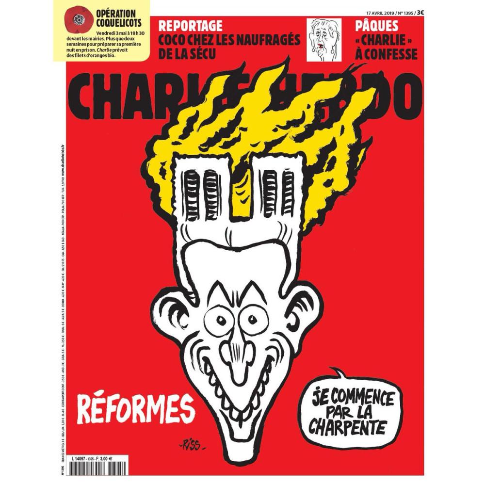 Шарли Эбдо  высмеял пожар и Макрона