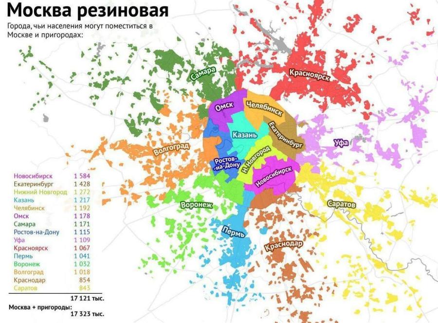 Города, чьи населения могут поместиться в Москве и пригородах