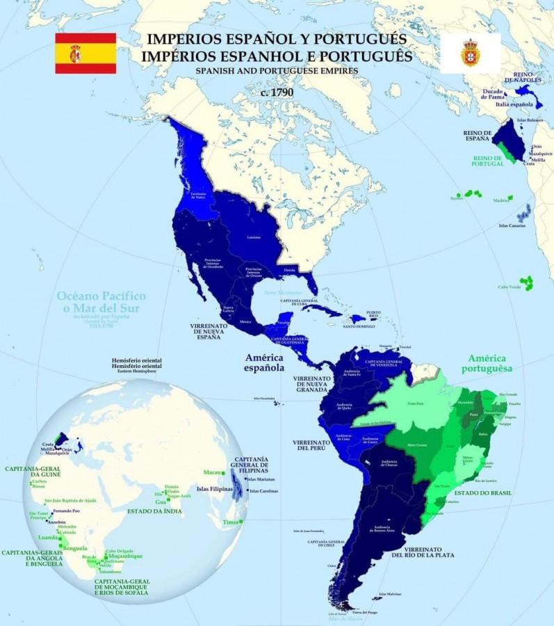 Испанская и Португальская империи. 1790 год