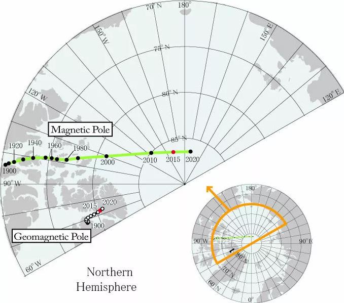 Найдена причина смещения северного магнитного полюса из Канады в Россию