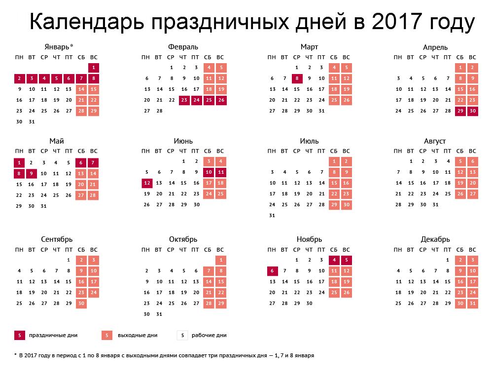 Выходные и праздничные дни на 2017 год