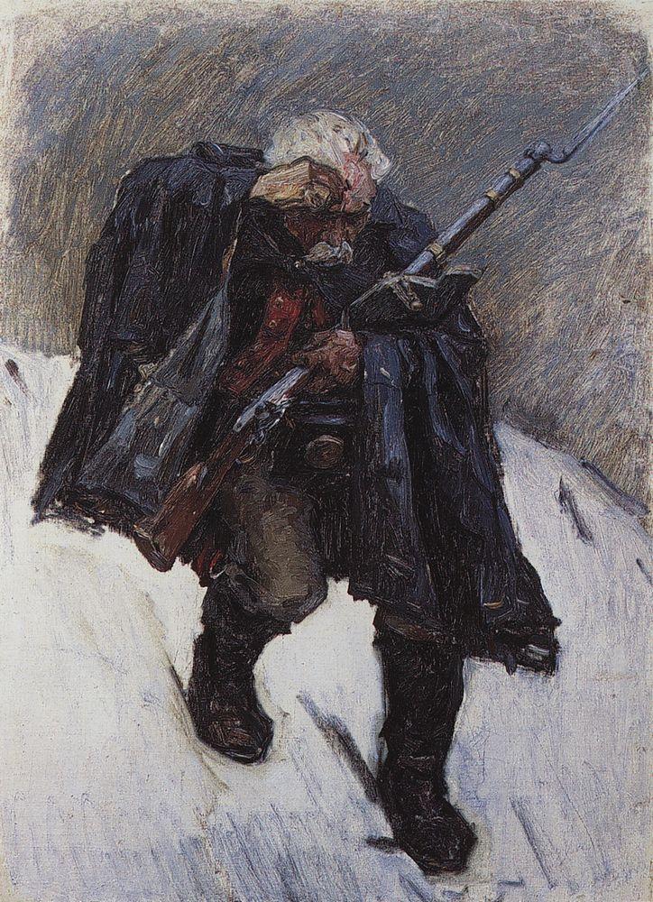Старый солдат, спускающийся по склону снежной горы. 1898