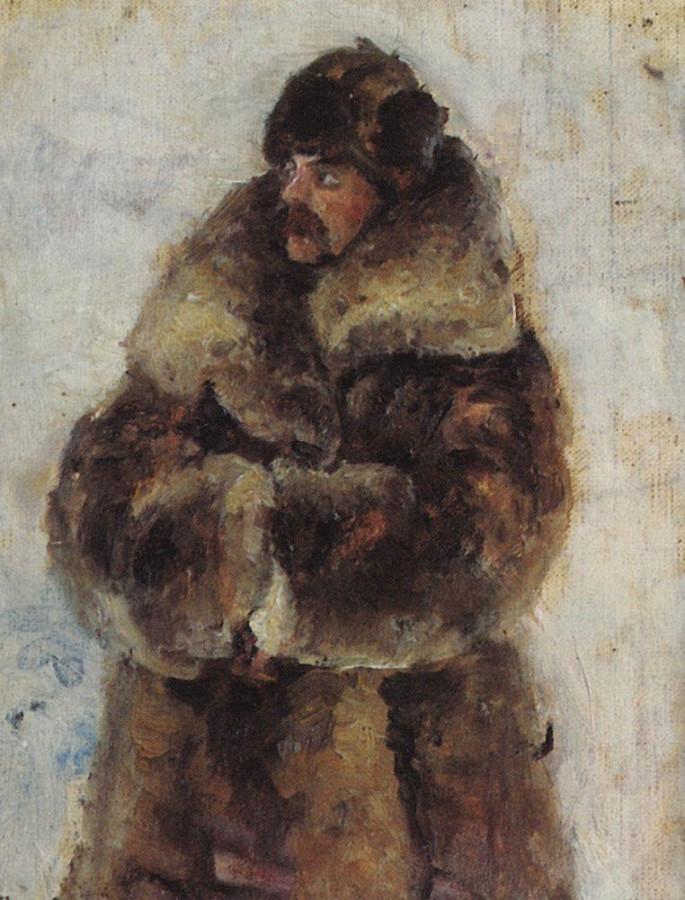 А.И.Суриков в шубе. 1889-1890