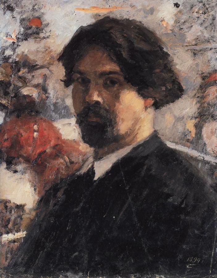 Автопортрет на фоне картины Покорение Сибири Ермаком. 1894