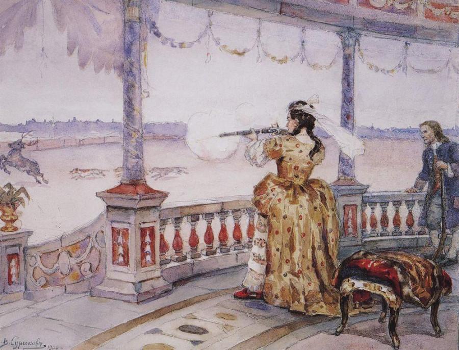 Императрица Анна Иоанновна в петергофском Тампле стреляет оленей. 1900