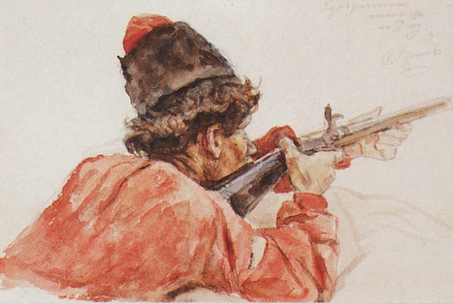 Стреляющий казак. 1893
