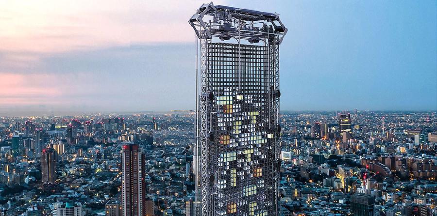 Концепт небоскреба с напечатанными квартирами-модулями