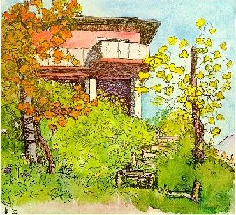 Gartentreppe mit Reben_